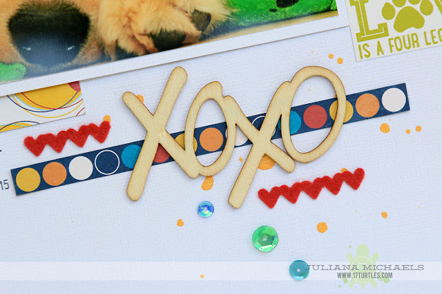 XOXO Sneak Peek of a scrapbook page by Juliana Michaels for Spiegelmom Scraps