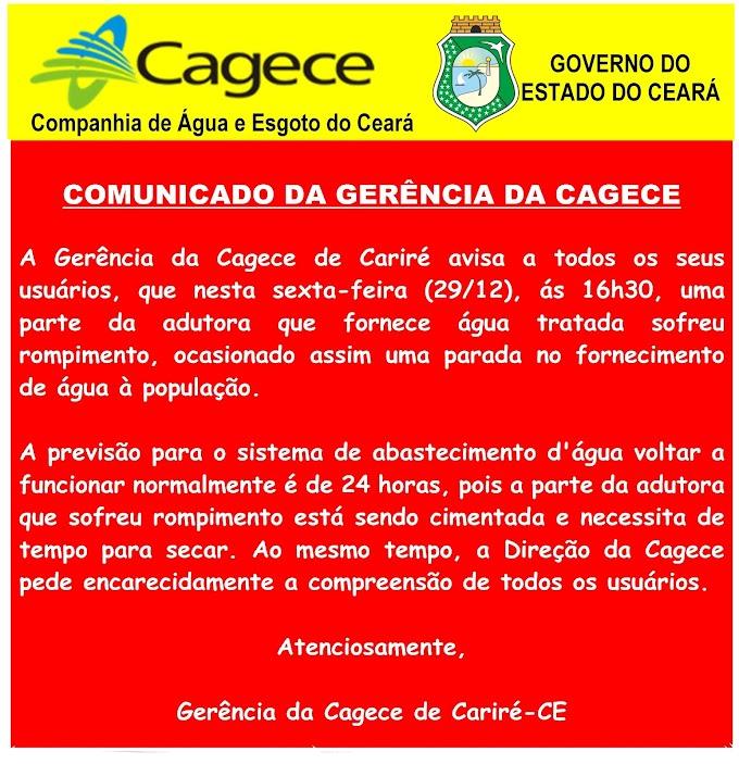 COMUNICADO DA GERÊNCIA DA CAGECE DE CARIRÉ-CE