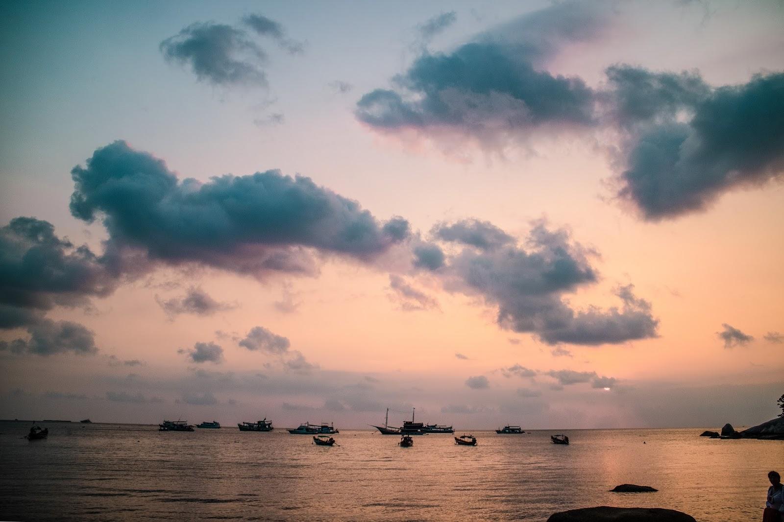 Sunset from Sairee Beach in Koh Tao