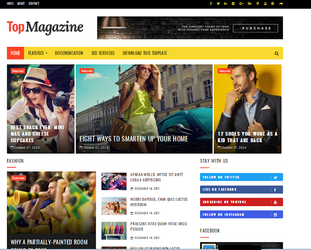 Top Magazine Blogger Responsive Template