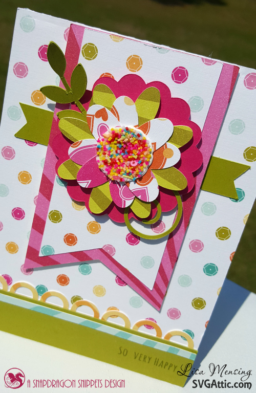 SVG Attic's JGW Beautiful Blooms Cards created in bright, bold colors with a touch of confetti