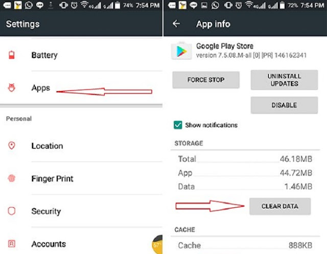 2. Clear the data of Play Store