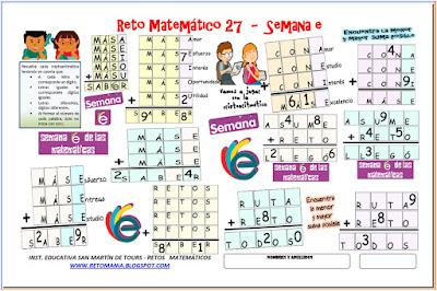 Criptoaritmética, Alfamética, Criptosuma, Retos matemáticos, Desafíos matemáticos, Problemas de lógica, Semana E, Semana E de las Matemáticas, Juegos de letras, Problemas matemáticos, Problemas para pensar