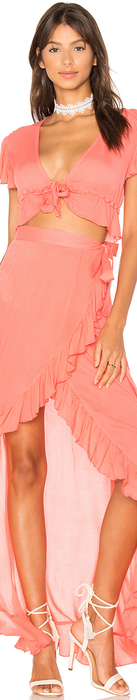 LOVERS + FRIENDS WAVES FOR DAYS WRAP SKIRT