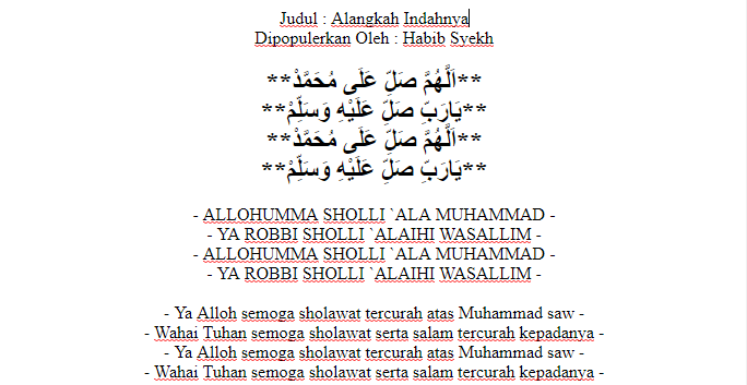 Habib Syech Lirik Alangkah Indahnya Jejakmu Com