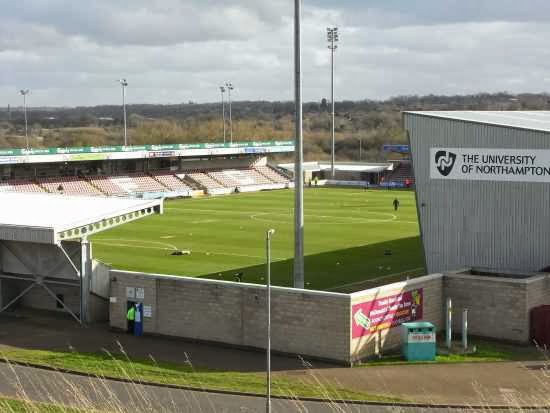 View of Sixfields Stadium from the top of the bank