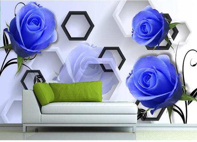 blå blommig tapet rosor