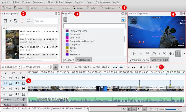 Imagem: Interface do Kdenlive - 1. Menu de atalhos de acesso rápido, 2. Binários do Projeto, 3. Transições e Efeitos, 4. Monitor do Projeto e do Clipe, 5. Ferramentas da Linha do Tempo, 6. Linha do Tempo.