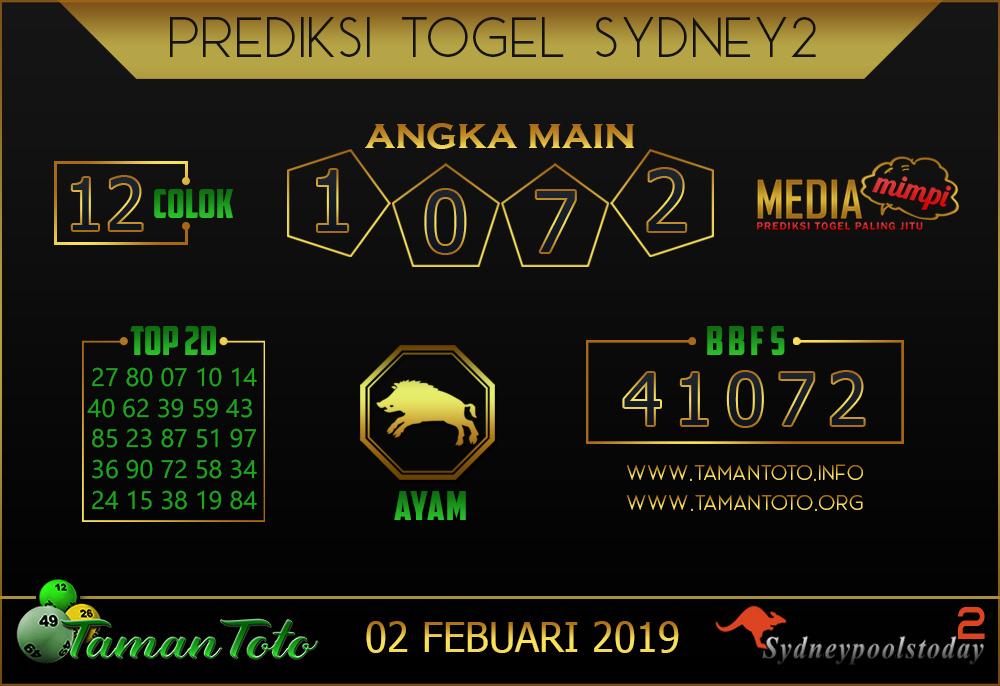 Prediksi Togel SYDNEY 2 TAMAN TOTO 01 FEBRUARI 2019