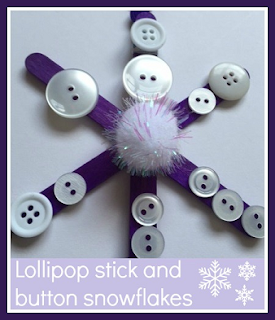 Lollipop stick and button snowflake Christmas decoration