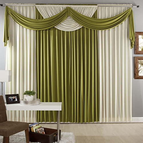 Green And White Living Room Curtains Designs