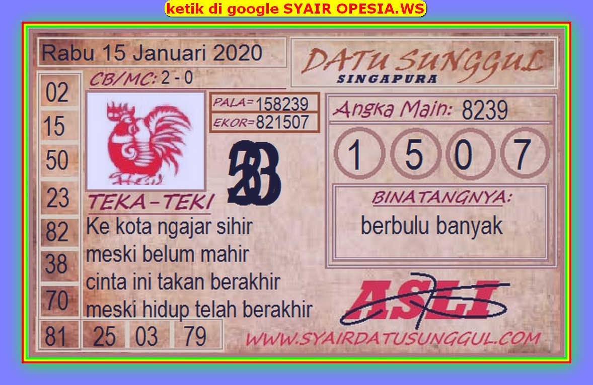 Kode syair Singapore Rabu 15 Januari 2020 36