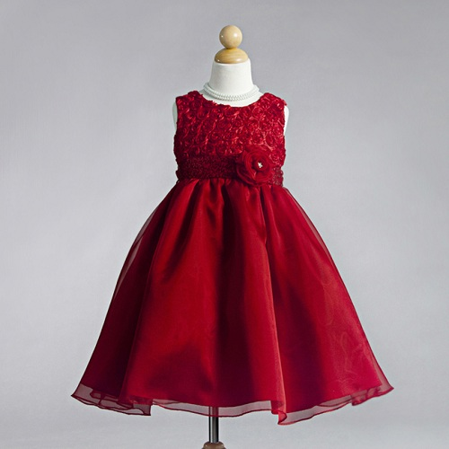 Kids-red-flower-dresses-small-children-little-girls ...