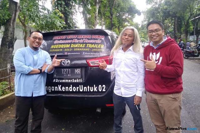 Dukung Prabowo-Sandi, Pria Ini Akan Main Drum Nonstop Surabaya-Jakarta