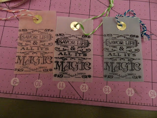 Three stamped vellum tags