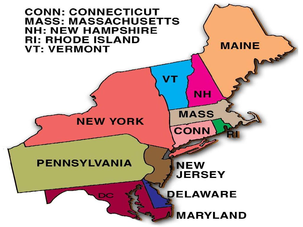 Map Of Northeast Region Of United States