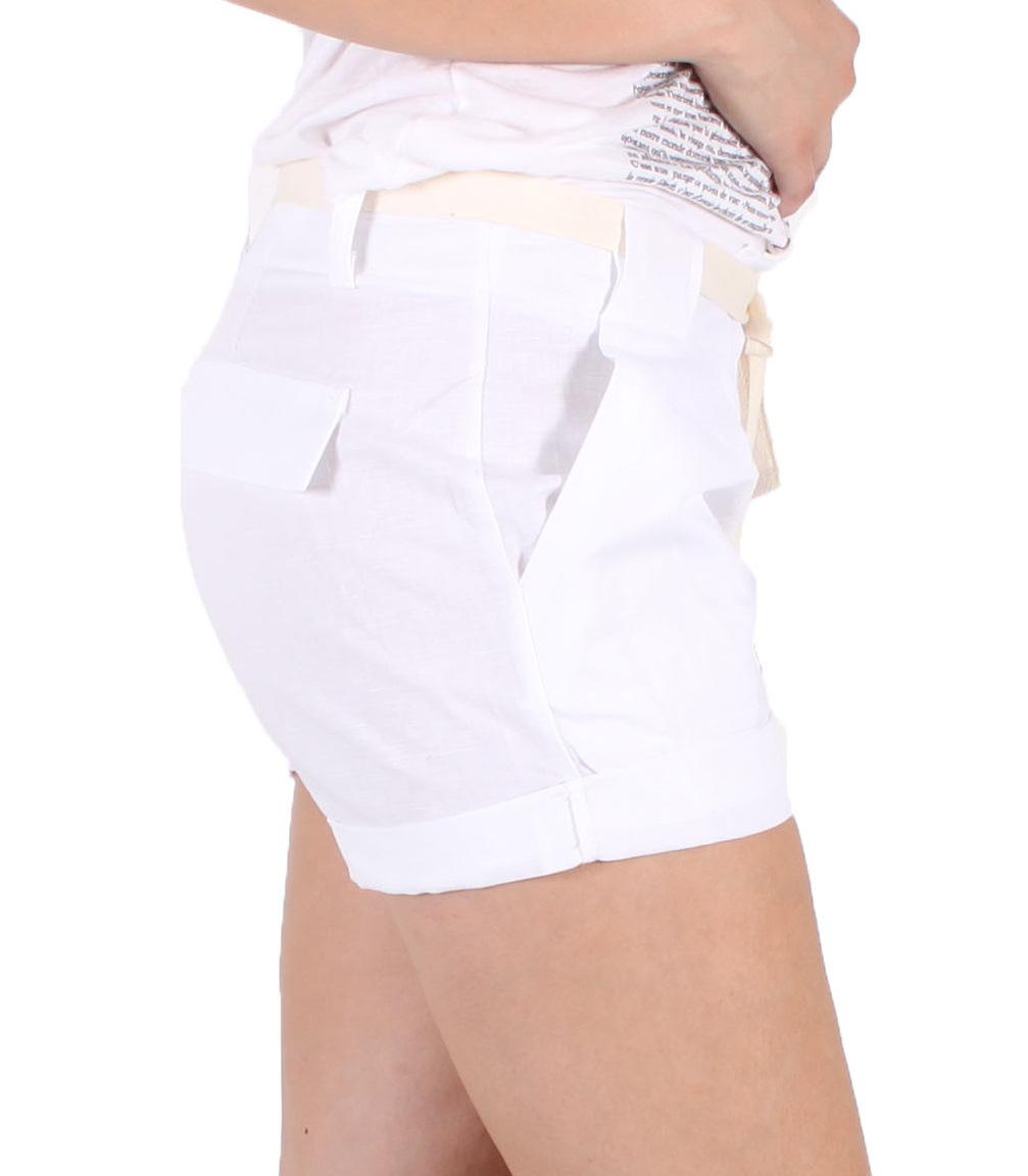 5bf53b250f La Bene Class  Short de lino blanco 100 %