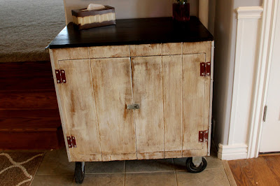 White washed kitchen cart with storage