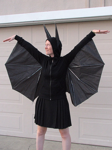 A cheap umbrella to create bat wings