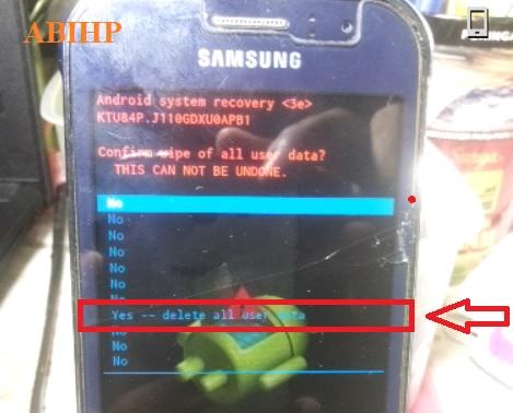 Setelah itu pilih delete all user data di Samsung J1 ace.