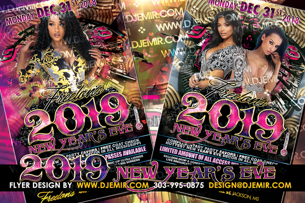 Gorgeous 2019 New Year's Eve Flyer design with Gold, Silver, Black, and Pink Color Scheme and 3D Clock