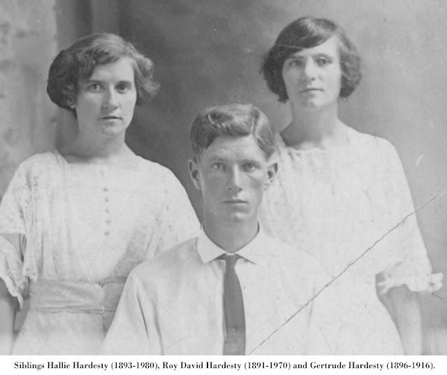 Portrait of siblings Hallie Hardesty (1893-1980), Roy David Hardesty (1891-1970) and Gertrude Hardesty (1896-1916).