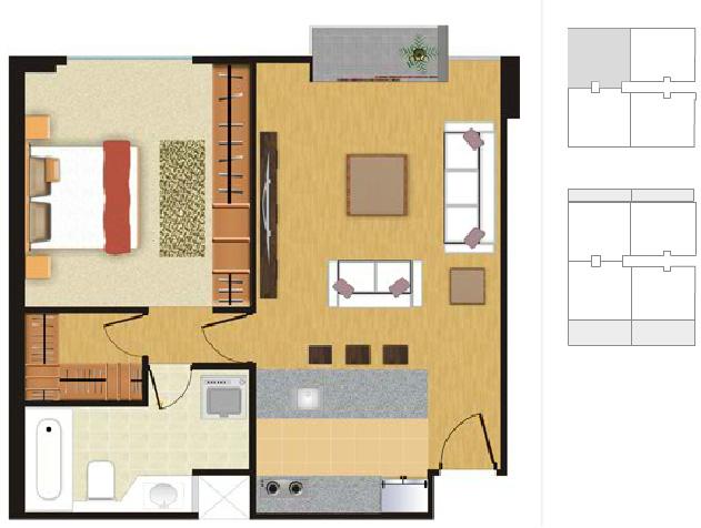 Plano para departamento de soltero planos de casas for Habitaciones 3d gratis
