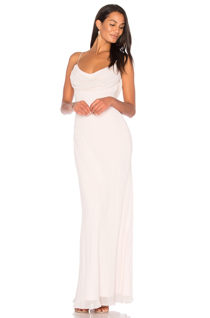 Katie May 'Eden' Gown $295 - This slinky gown comes in a pale pink hue with a draped neckline and back