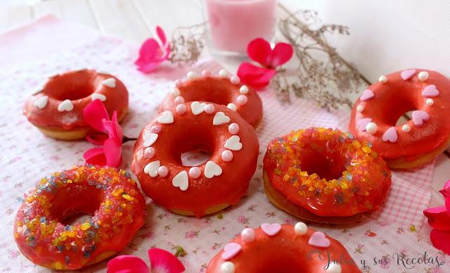 Donettes glaseados para S. Valentín. Julia y sus recetas