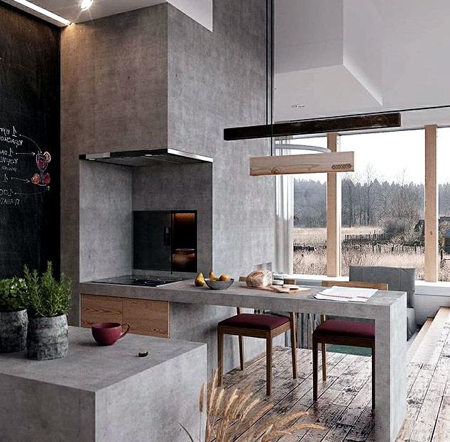 interior rumah minimalis kitchenset dapur dan minibar ruang makan
