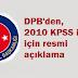 DPB'den, 2010 KPSS iptali için resmi açıklama
