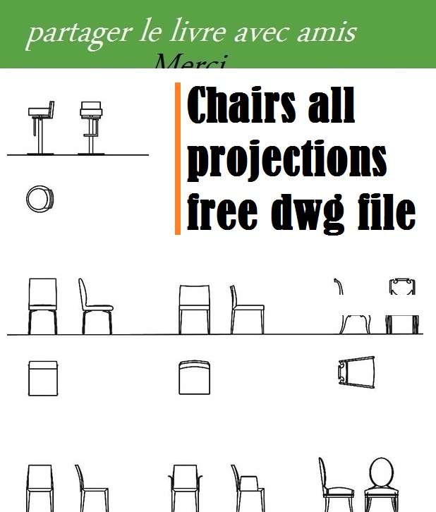 Chairs all projections free dwg file - bibliotheque architecture