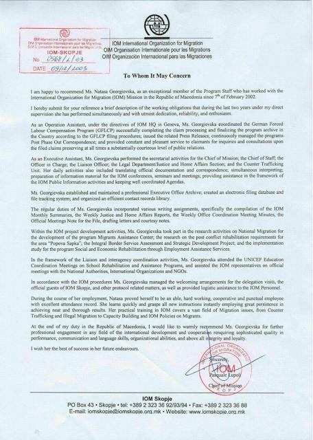 NATASHA MILBURN : Recommendation Letter from the International
