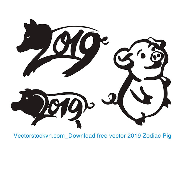 Chinese calendar for the year of pig 2019. Free Download file corel