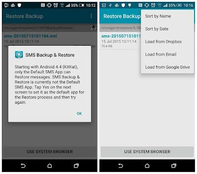 banyak opsi tambahan pada aplikasi SMS Backup & Restore