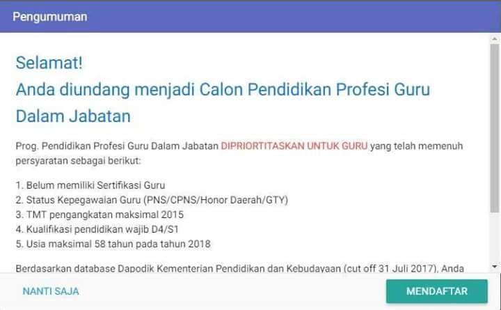 Dirjen GTK mengundang Guru calon PPG melalui akun SIM PKB. Tidak semua Guru  yang belum sertifikasi mendapatkan mendapatkan undangan ... cb87bc09ad00d