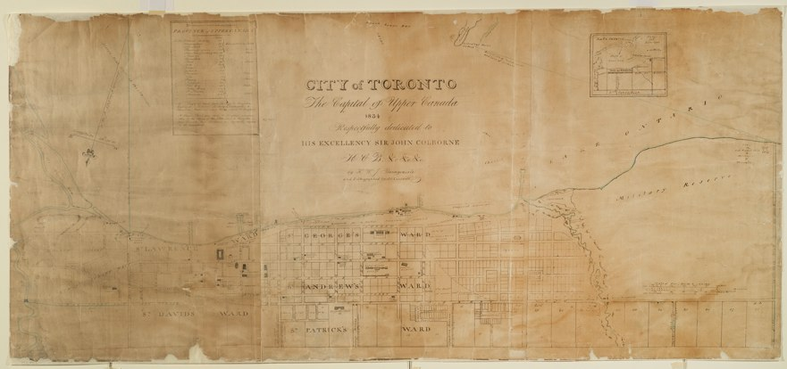 Map: City of Toronto, 1834, by HWJ Bonnycastle. Lithographed by Samuel Tazewell.
