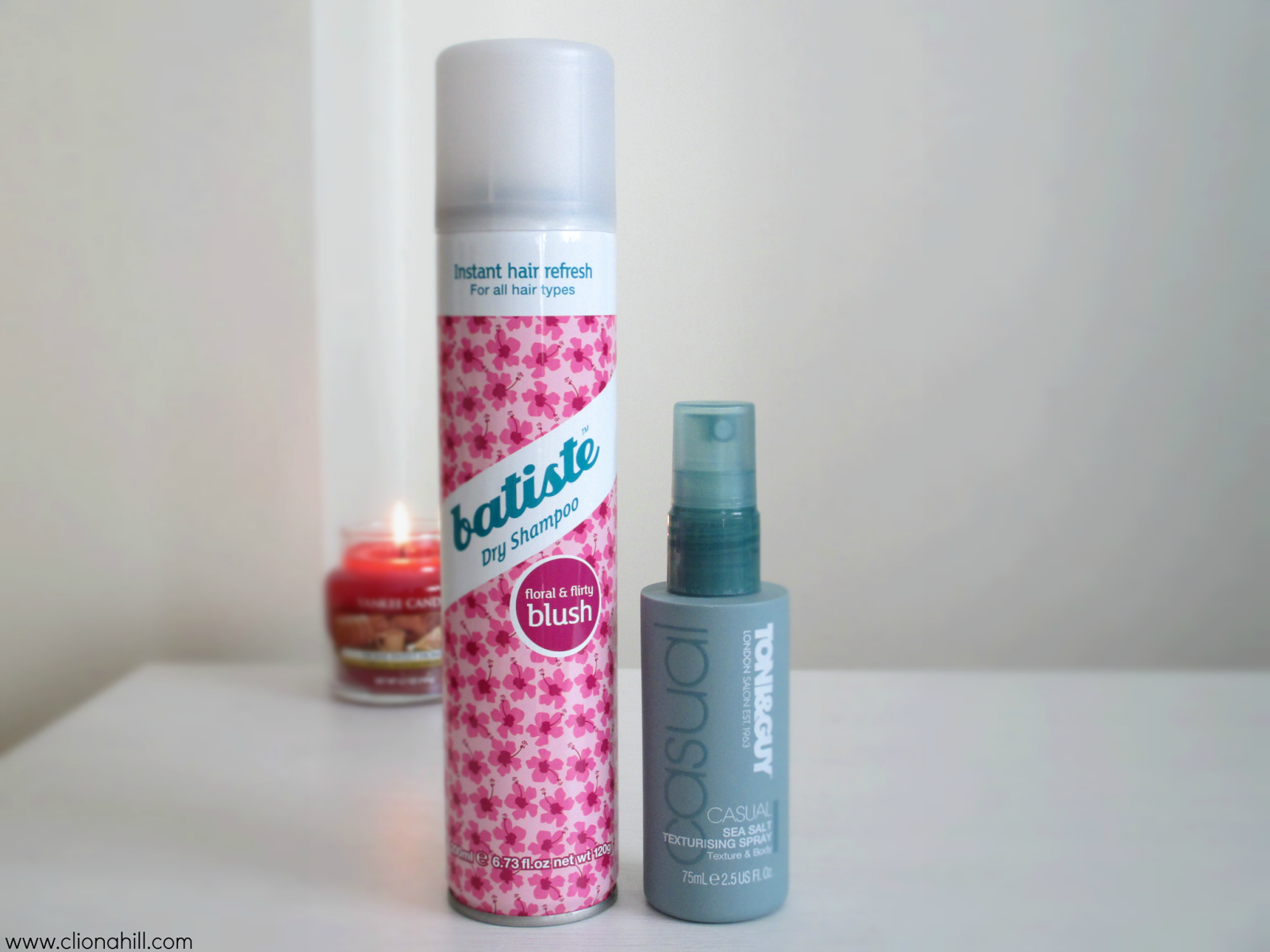 Batiste dry shampoo and Toni & Guy sea salt spray