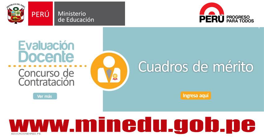 MINEDU: Cuadro de Mérito para Contrato Docente 2016 (Resultados 22 Enero) www.minedu.gob.pe