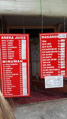 Daftar menu di Warung Selat Mbak Lies