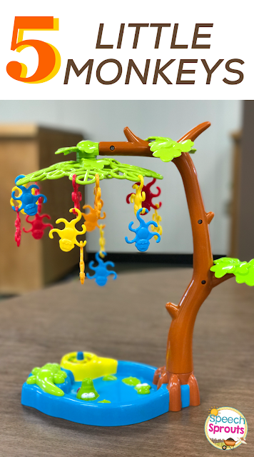The perfect game to go with Five Little Monkeys Swinging in a Tree. Many more preschool speech and language activity ideas in this post from  www.speechsproutstherapy.com