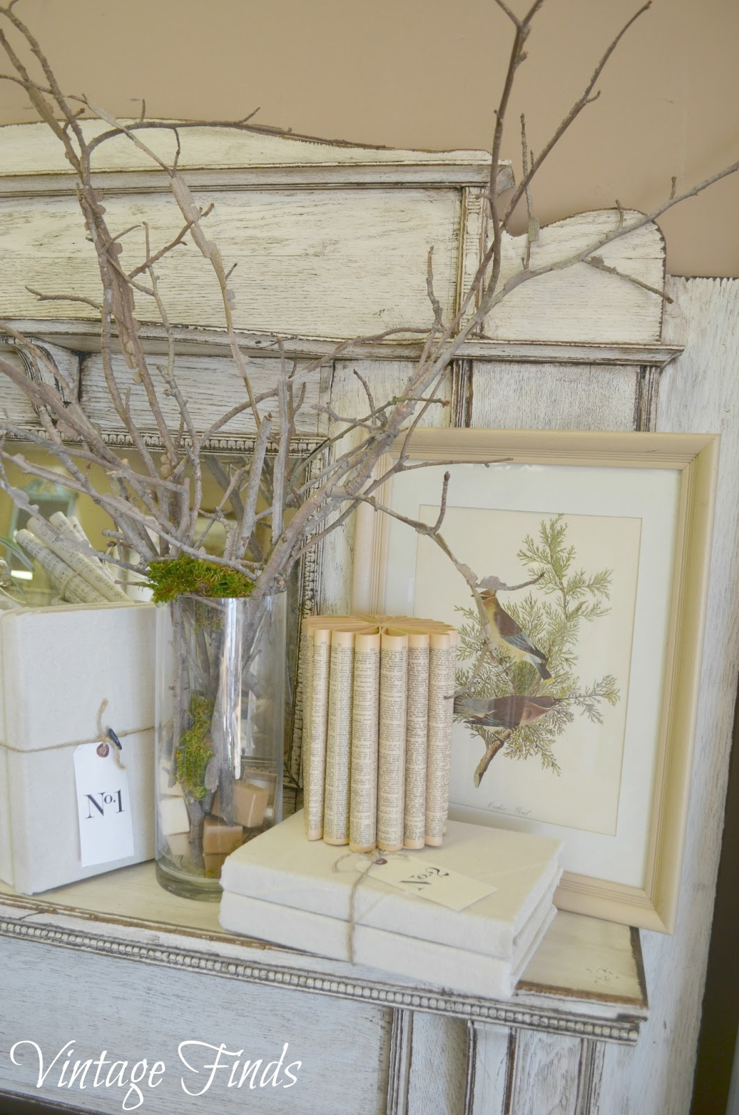 spring, mantel, moss, branches, books, bookpages