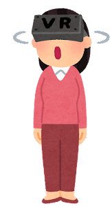 VRゴーグルを付けた人のイラスト(女性・キョロキョロ)
