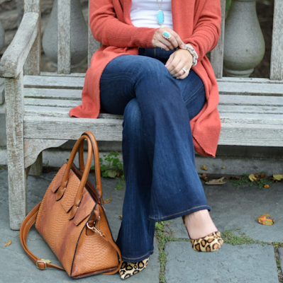 Cognac Structured bag, leopard heels, orange and turquoise outfit inspiration