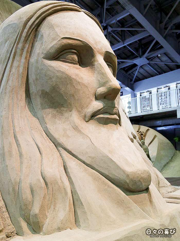 sculpture de sable christ rédempteur corcovado visage profil