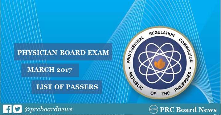 March 2017 Physician board exam results release passers