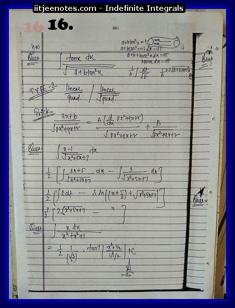 indefinite integrals notes 2