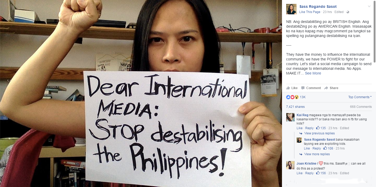 "Netizens join protest against Int'l media: ""Stop destabilizing the Philippines"""