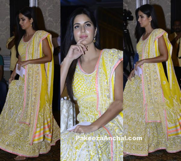 Katrina Kaif in WeUnite Yellow Embroidered Lehenga