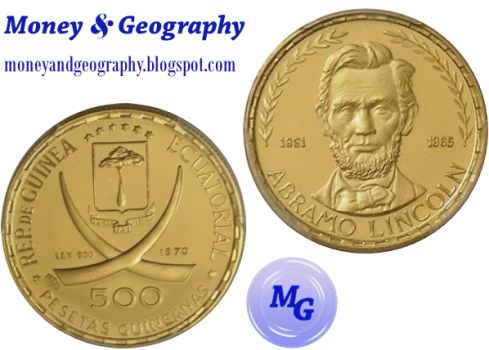 Equatorial Guinea 500 Pesetas (1976) coin featuring U.S. President Abraham Lincoln